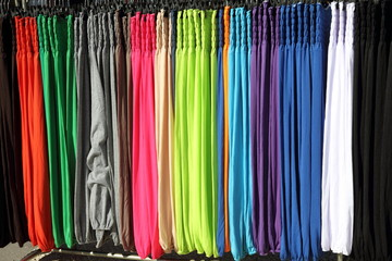 An assortment of trousers, Provins market France