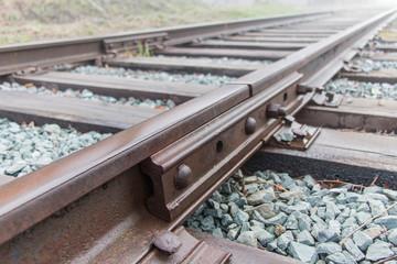 Railway rails on cross ties
