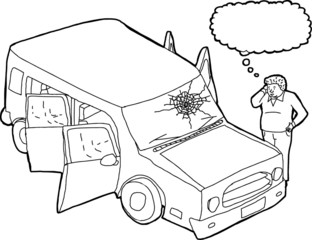 Outline of Thinking Man and Broken Windshield