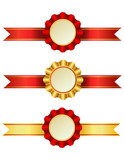 Award ribbons with rosettes.