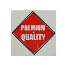 Premium quality white stamp text on red background
