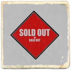 Sold out  white stamp text on red background