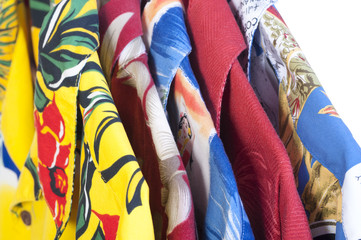 Hawaiian shirts on hangers