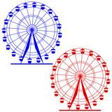 Silhouette atraktsion colorful ferris wheel. Vector  illustratio