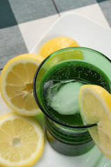 Green Glass with Lemons and Viewed Above