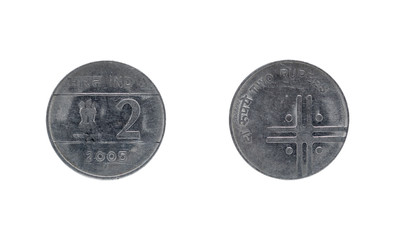 Two Indian Rupee coin