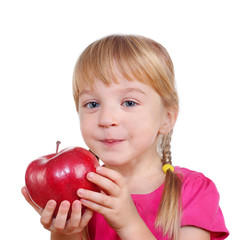 female child with a big red apple