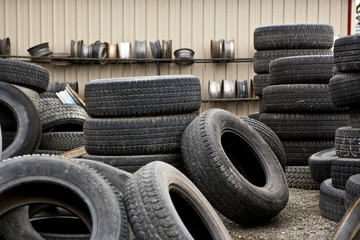 Tires in junkyard