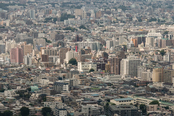 aerial view of houses in central Tokyo
