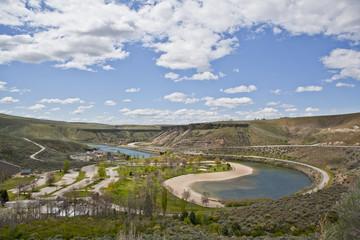River among hills, Montana, United States