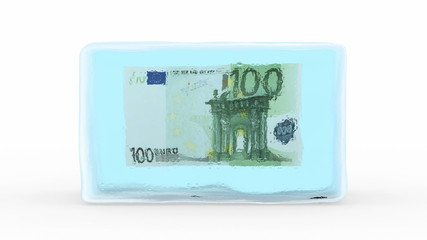 Euro Frozen in a Block of Ice