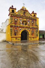 Colorful facade of Church of San Andres Xecul, Guatemala