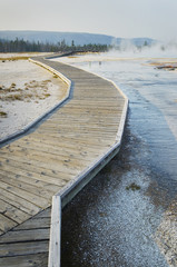 Boardwalk over the hot springs of the Black Sand Basin
