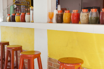A market stall and drinks stand