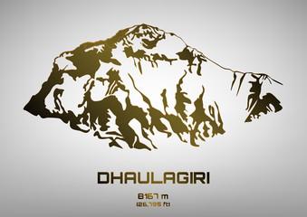 Outline vector illustration of bronze Dhaulagiri
