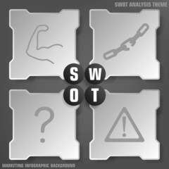 SWOT analysis background theme in black, grey levels