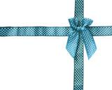 Shiny Ribbon sky (bow) gird box frame isolated on white backgrou poster