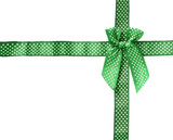 Shiny Ribbon green (bow) gird box frame isolated on white backgr poster