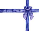 Shiny Ribbon blue (bow) gird box frame isolated on white backgro poster