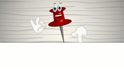 Funny corkboard pin cartoon illustration