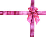 Shiny Ribbon pink (bow) gird box frame isolated on white backgro poster