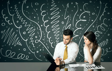 Business couple with curly lines and arrows