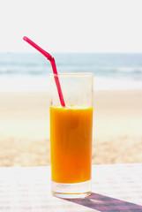 Glass with mango juice