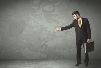 Business person throwing with empty copyspace