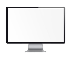 Computer display with white blank screen.