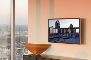 Flat Screen TV on Wall at Sunset