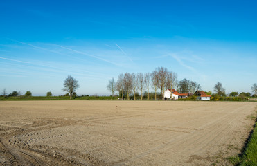 Recently prepared farmland at the beginning of the spring season