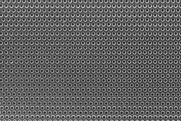 Close-up silver woofer sound isolated background.