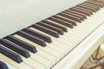 piano key with soft light, Vintage style