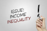 Hand writing  issue income inequality poster