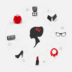 girl silhouette, concept wardrobe, cosmetics and ladies' dress