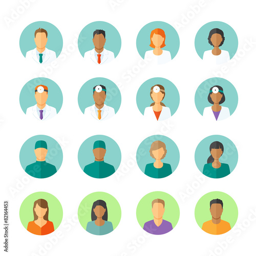 Flat avatars of doctors and patients for medical forum - 82164453