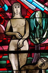 Creation of Eve from Adam (stained glass)
