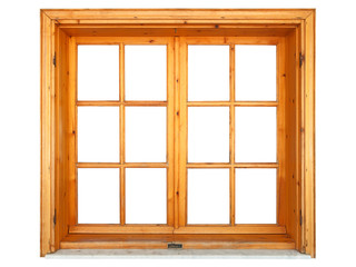 Wooden window niche isolated