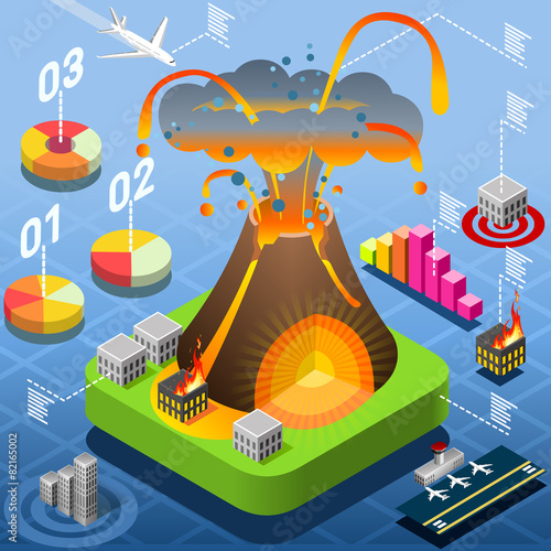 Isometric Volcano Eruption Infographic - 82165002