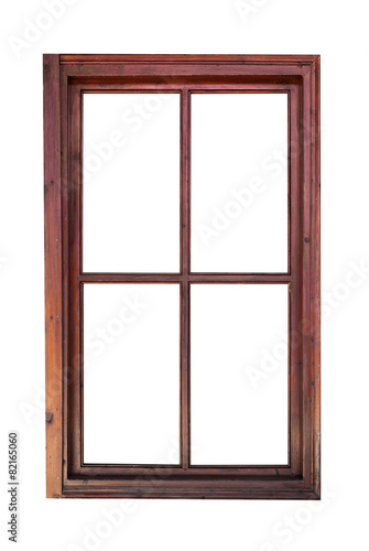 Wooden window frame isolated on white background - 82165060