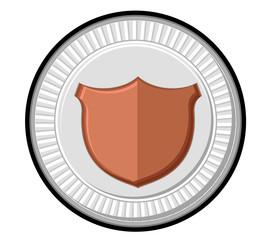 Retro Shield Silver Coin