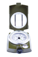 Military compass on a white background.