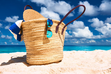 Beautiful beach with bag at Seychelles