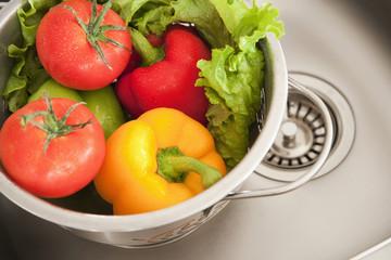 Close up of vegetables in colander