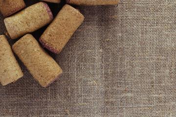 Wine corks on linen