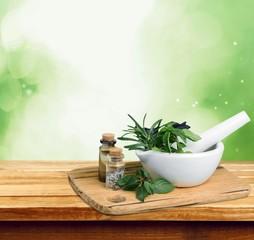 Herb. Fresh herbs in the mortar - alternative medicine