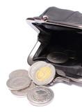 Black leather purse with coins. White background
