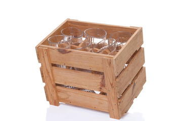 Crate with utensils