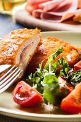 Cutlet Cordon Bleu with salad