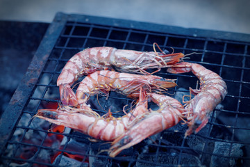 Shrimps on charcoal grill, blue tone